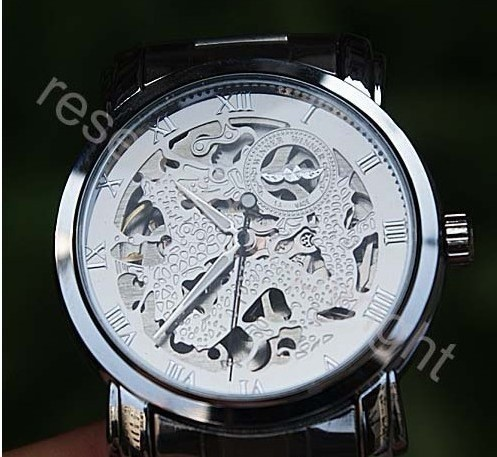 Men's High Quality silver chronograph skeleton mechanical watch Transparent  hand wound timepieces stainless steel strap