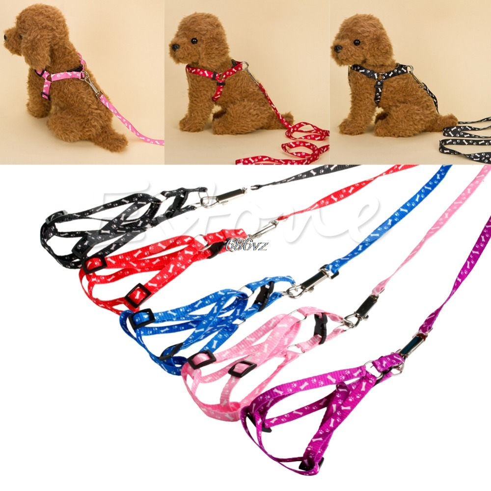 Small Dog Pet Puppy Cat Adjustable Nylon Harness with Lead leash 5 Colors N28 Drop Ship