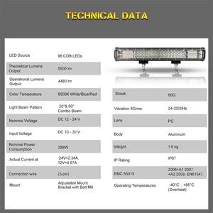 Image 2 - 20 بوصة مصباح ليد للطرق غير الممهدة بار الأزرق الأحمر كومبو شعاع 12 فولت 24 فولت الأضواء LED العمل الضباب ضوء لشاحنة جرار UAZ ATV SUV MPV 4X4