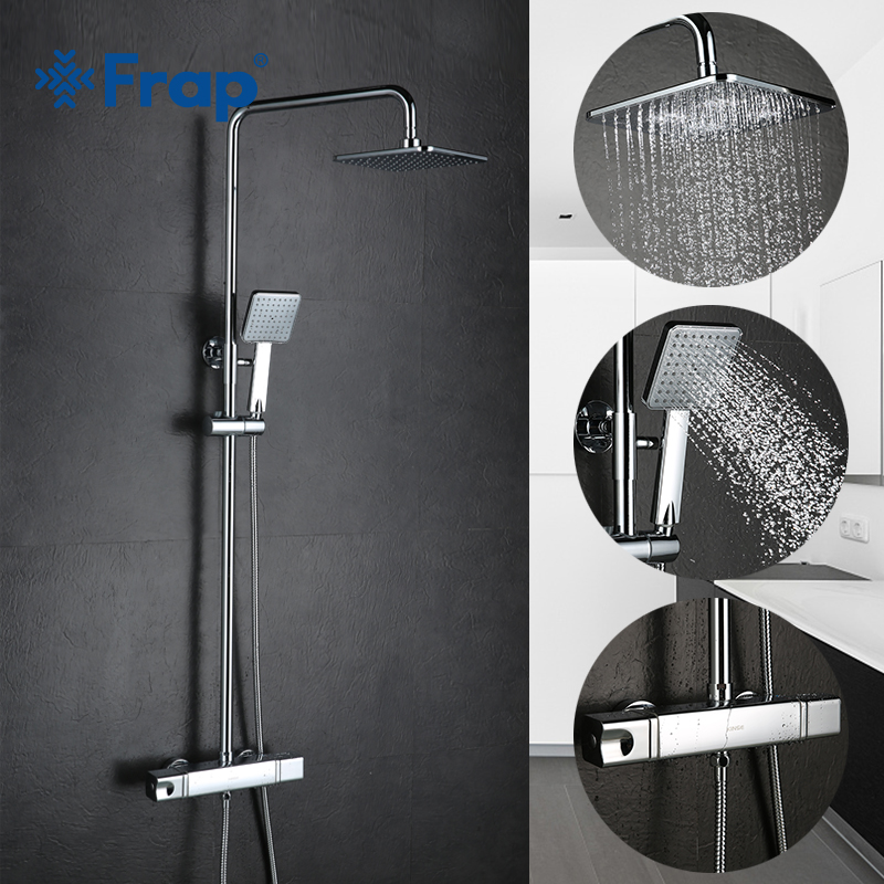 FRAP wall mounted bathroom Thermostatic Faucets bathtub shower faucet mixer tap waterfall  cold&hot mixer shower faucets FLD1197 chrome finish dual handles thermostatic valve mixer tap wall mounted shower tap