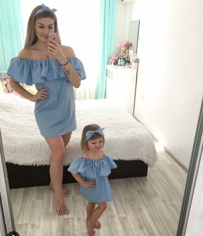 Ruffled Mommy And Me Clothes Family Look Off Shoulder Mother Daughter Matching Dresses Outfits Mom Girl Clothes Dress Clothing