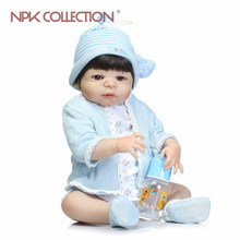 NPKCOLLECTION Soft Silicone Reborn Dolls Baby Realistic Doll Reborn 22Inch Full Vinyl Boneca BeBe Reborn Doll For Girls(China)