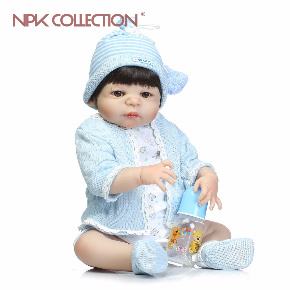 NPKCOLLECTION Soft Silicone Reborn Dolls Baby Realistic Doll Reborn 22Inch Full Vinyl Boneca BeBe Reborn Doll For Girls new 22inch about 56cm doll reborn full silicone vinyl babies for girls hair wig realistic alives soft baby dolls bonecas reborn