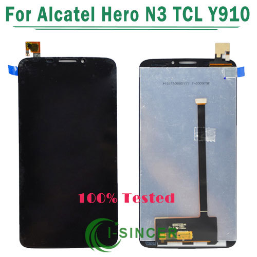 1/PCS Tested black color Full LCD Display touch Screen Digitizer Assembly For Alcatel Hero N3 Free Shipping