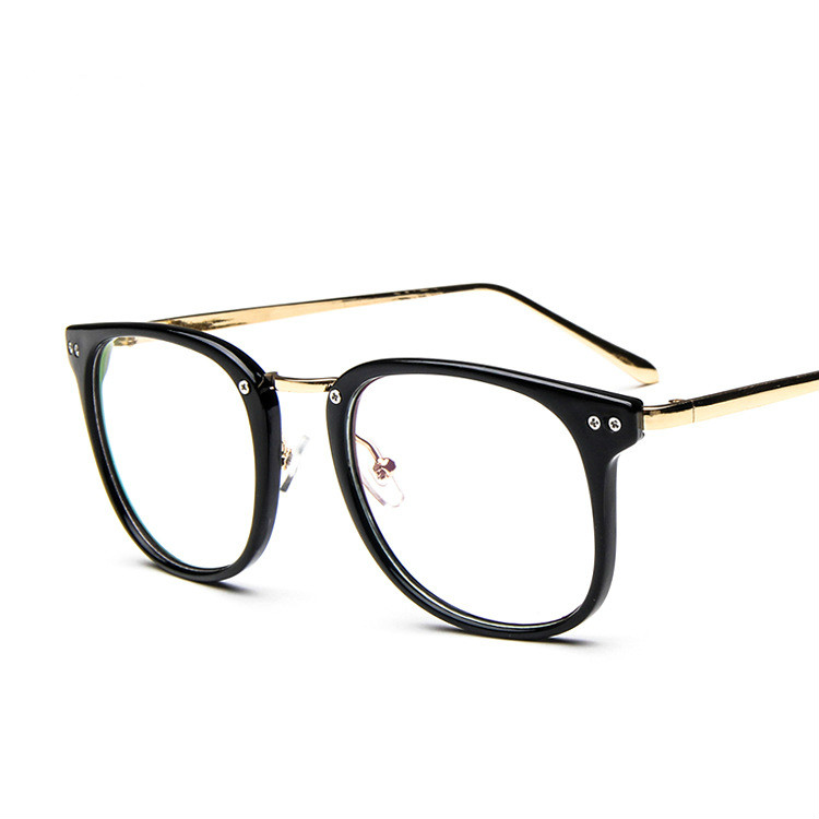2016 rivets big frame clear lens women fashion glasses frames vintage gold leg high quality metal