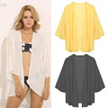 2016 New Women 3/4 Sleeve Front Open Blouse Asymmetric Hem Solid Loose Casual Beach Chiffon Tops