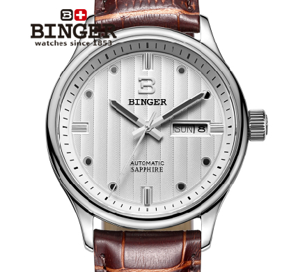 2017 New Binger Hours Clock Men's Luxury Business Wrist watch Stainless Steel Case Quartz Watches Waterproof Gift Wristwatch 2017 new full steel automatic watch binger casual fashion wristwatch with gold calendar man business hours clock relogio reloj