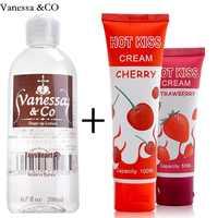 Aceite lubricante lubricación lubricante Sexual Anal vagina de gel comestible cereza fresa crema sabor sexo Oral
