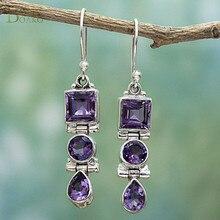BOAKO Purple Crystal Drop Earrings Jewelry For Women Bohemian Ethnic Statement Long Earring Rhinestone Brincos