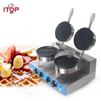 ITOP Commercial Waffle Maker Double Independent Burners with Non stick Surface Waffle Grills Cake Oven Machine