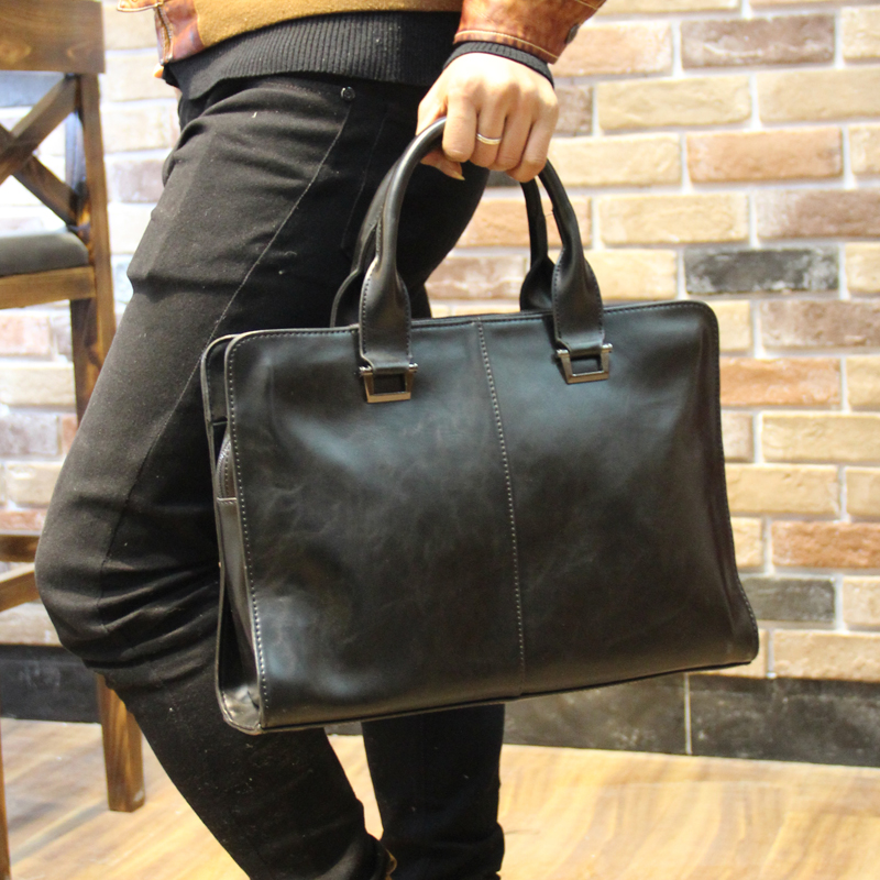 CROSS OX Genuine Leather Mens Briefcase Laptop Bags Mens