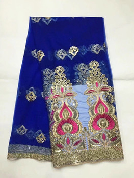 5 Yards/pc Hot sale royal blue french net lace and fuchsia embroidery african mesh lace fabric with sequins for dress JN3-3