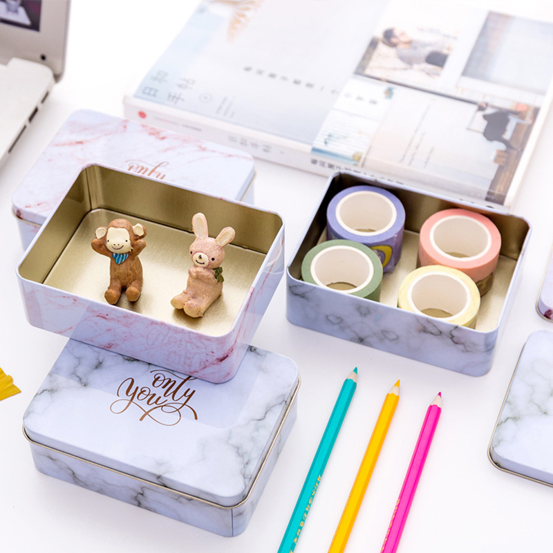 Creative Tinplate Marble Texture Storage Case Stationery Holder Daily Desktop Sorting Box Wedding Candy Box School Office Supply