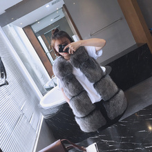 Autumn Winter brands Natural fur vests women's  genuine fox fur vests fur gilet long black frosted color waistcoat