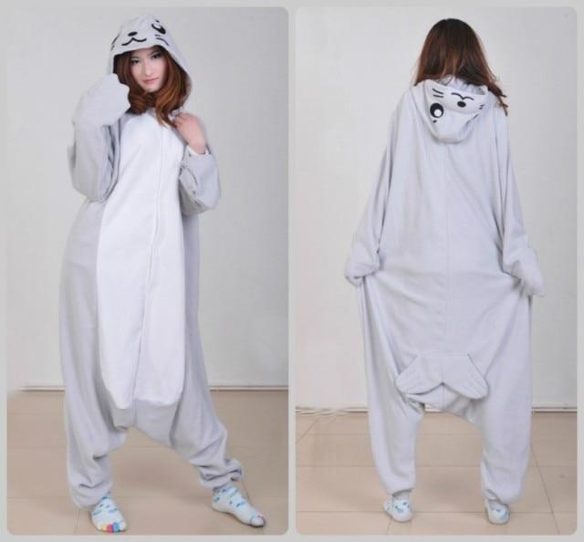 3baa47ce7 Gray Seal Pajamas Onesies Cartoon Animal One Piece Cosplay Costume ...