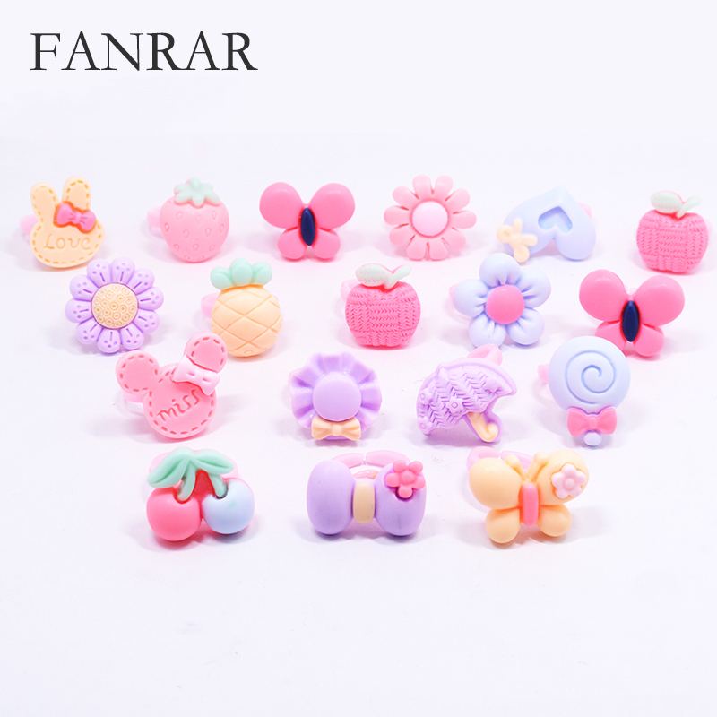 2018 hot sale 10pcs Baby Girls Kids Rings Lovely Cartoon Candy Fruit Heart Animals Flower Scrub Rings Anillo Chica Party Gift gold earrings for women