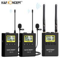 K & F Concept UHF 100M micrófono Lavalier inalámbrico 2 transmisores + 1 receptor doble para cámaras Canon Nikon DSLR videocámara Video
