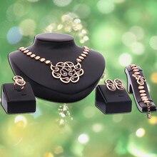 Women's Wedding Party Rhinestone Decor Choker Necklace Ring Earrings Bracelet Set