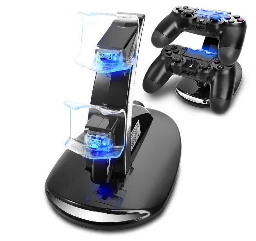 2016 Newest DUAL USB Charging LED Controller Chargers For Play Station