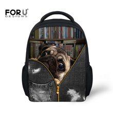 46241b77b14a FORUDESIGNS 12 inch Toddler Mochila Animal Pug Dog Printing Backpack Infant  Schoolbags Children Baby Little Girls Boys Book Bag