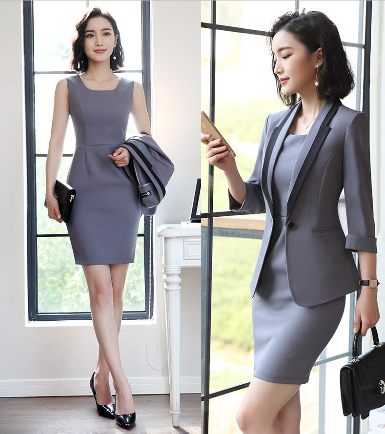 AidenRoy 2019 Hot Ladies Dress Suit for Work Full Sleeve Blazer Sleeveless Dress 2 Pieces Set For Businesss Women Suit