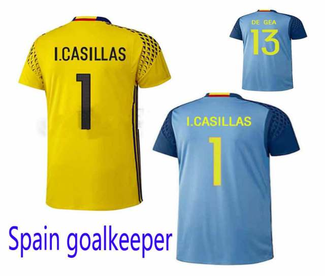 636422cd7 2016 2017 Spain GK soccer jersey football shirt home yellow away blue  Goalkeeper 1 gk sport maillot top thai quality in stock