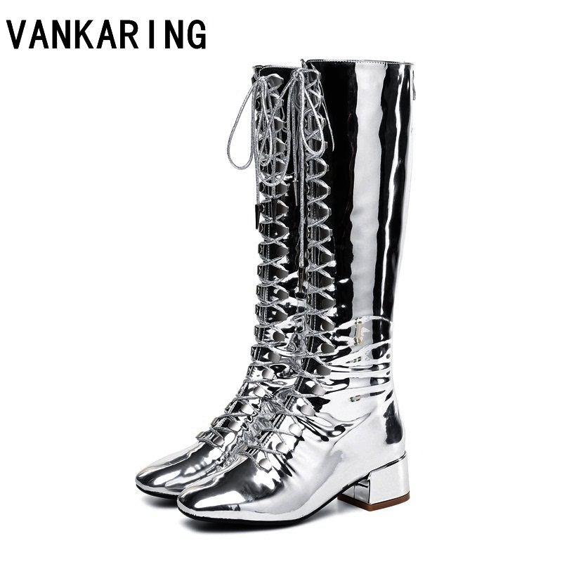 VANKARING female brand women shining punk rivets boots patent leather knee high boots black silver high heels knight boots womanVANKARING female brand women shining punk rivets boots patent leather knee high boots black silver high heels knight boots woman