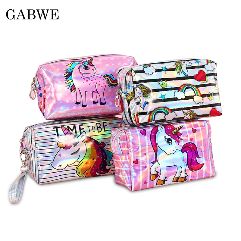 GZBWE Fashion Hologram Laser Women Makeup Bags Unicorn Cute Cosmetic Cases Make Up Organizer Toiletry Bag For Student Pencil Bag