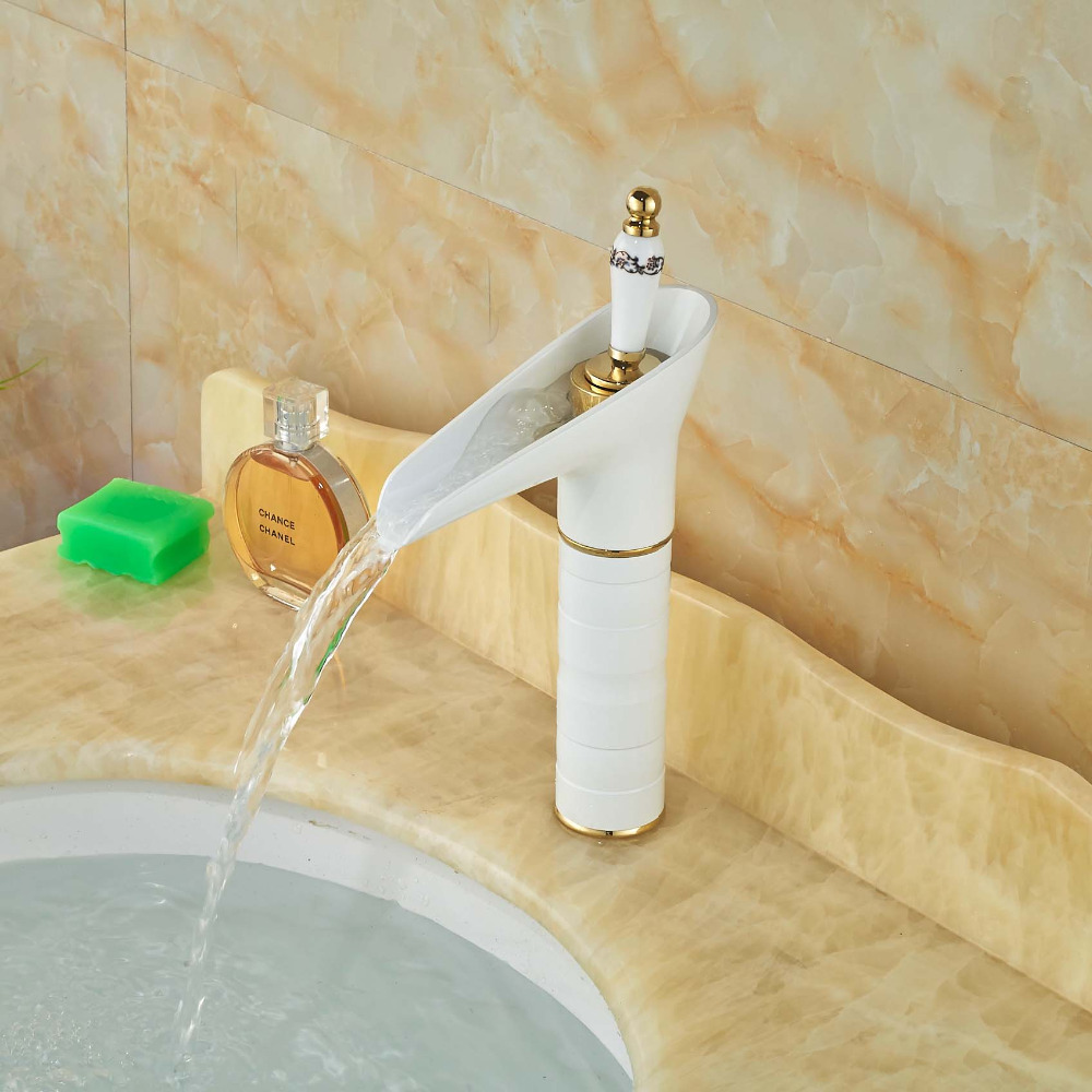 Solid Brass Bathroom Basin Faucet Waterfall Spout Vanity Sink Mixer Tap White Painting waterfall spout solid brass bathroom basin faucet single handle hole vanity sink mixer tap