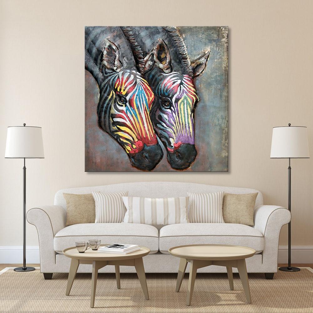 HDARTISAN moderne kunst malerei wandkunst bild abstrakte bunte zebra ...