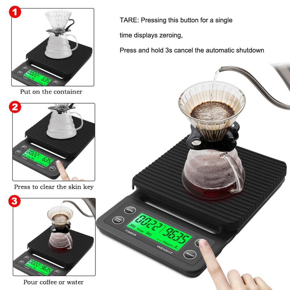 Электронные кухонные весы, высокоточные с таймером 3 кг/0,1 г 5 кг/0,1 г с ЖК-экраном-2