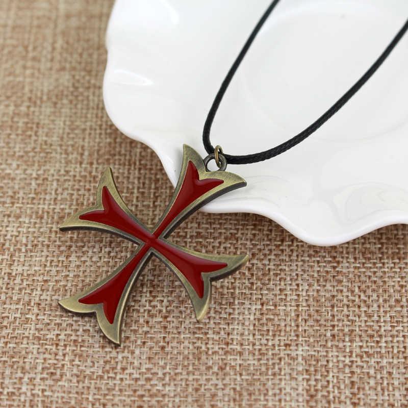 Hot Dijual Perhiasan Pria Kalung Vintage Knights Templar Iron Cross Liontin Kalung untuk Pria Cross Perhiasan Natal Hadiah Pesta