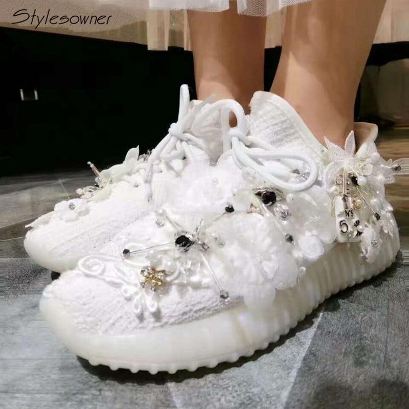 Stylesowner Flower Mesh Elastic Casual Shoes Platform Crystal Women Elegant Rhinestone S ...