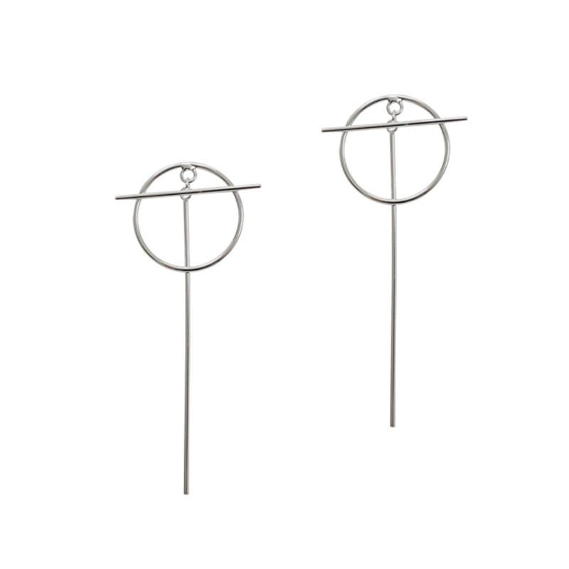 Jsmpfy новые длинные серьги простой Стиль чистый 925 стерлингового серебра круг T Форма мотаться падение серьги для Для женщин вечерние подарки brincos