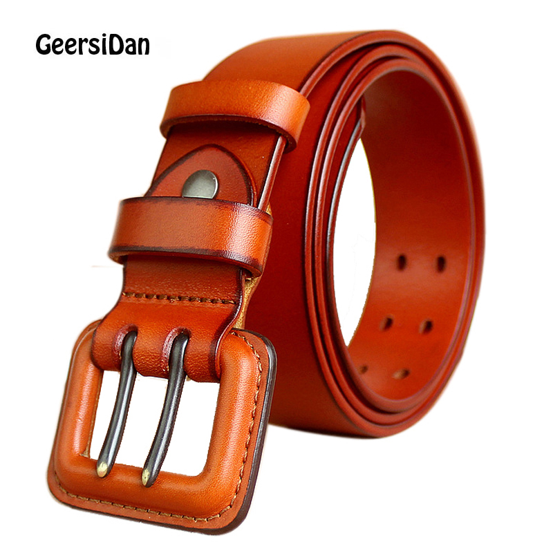 GEERSIDAN 2018 Luxury cowskin genuine leather belt for men new fashion classic vintage Prevent allergy pin