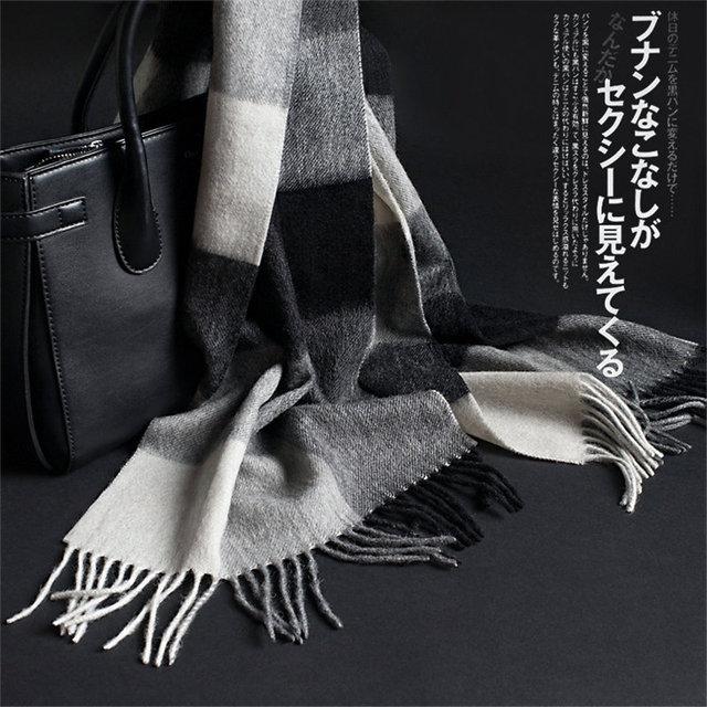 32*180CM Luxury Brand Plaid Wool Cashmere Women/men's Scarves Warm Winter Scarf British Style Pashmina Shawls Wraps Echarpe S6