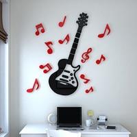 Free shipping Acrylic wall sticker Guitar music notes kid's room wall sticker Size 60*59cm/80*79cm/100*99cm/120*119cm//140*139cm