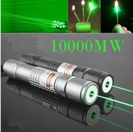 NOUVEAU Militaire Graver Match Professionnel Puissant SOS 10 W Focalisables Brûler Vert pointeur laser Stylo Lazer Pointeur 10000 m & Chargeur