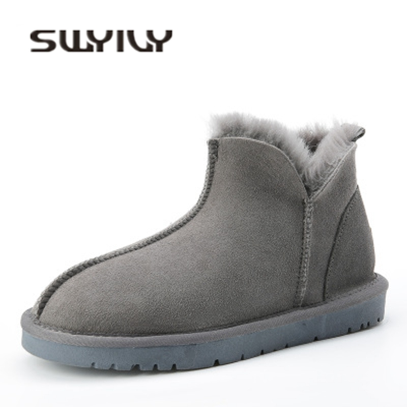 SWYIVY Snow Boots Female Genuine Leather Wool Fur 2018 Winter Warm Snowboots Woman Slip On Ankle Boots Flat Australia Snow Boots cocoafoal women s wool snow boots woman ankle boots silvery winter snow boots flat with platform wool snow boots genuine leather