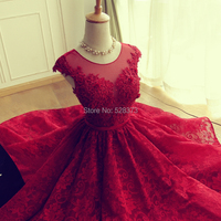 YNQNFS YEC27 Vestidos de Fiesta Robe Cocktail Short Party Graduation Homecoming Dress Lace Red Color Real Photos