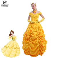 New Beauty And The Beast Princess Bella Adult Costume Luxury Yellow Anime Cosplay Dress For Women