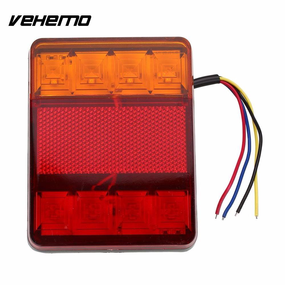 Vehemo Waterproof 24V 8 LED Red Yellow Rear Tail Warning Light Indicator Lamp for Trailer Boat Car Vehicle Light Car Styling g126y 2pcs red led light 25 31mm spst 4pin on off boat rocker switch 16a 250v 20a 125v car dashboard home high quality cheaper