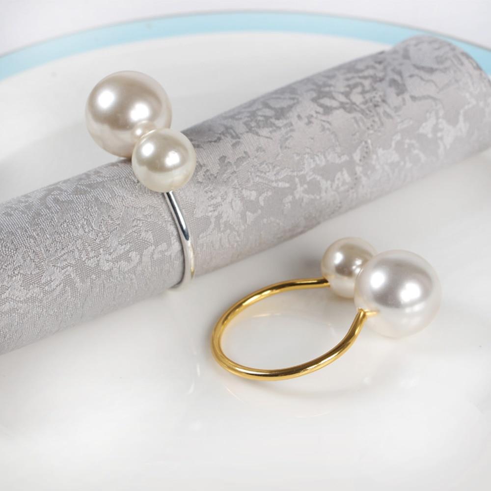12 pçs/lote personalidade criativa anel de guardanapo de metal o botão de brinde anel de guardanapo de fivela ocidental anel de pérola refeição