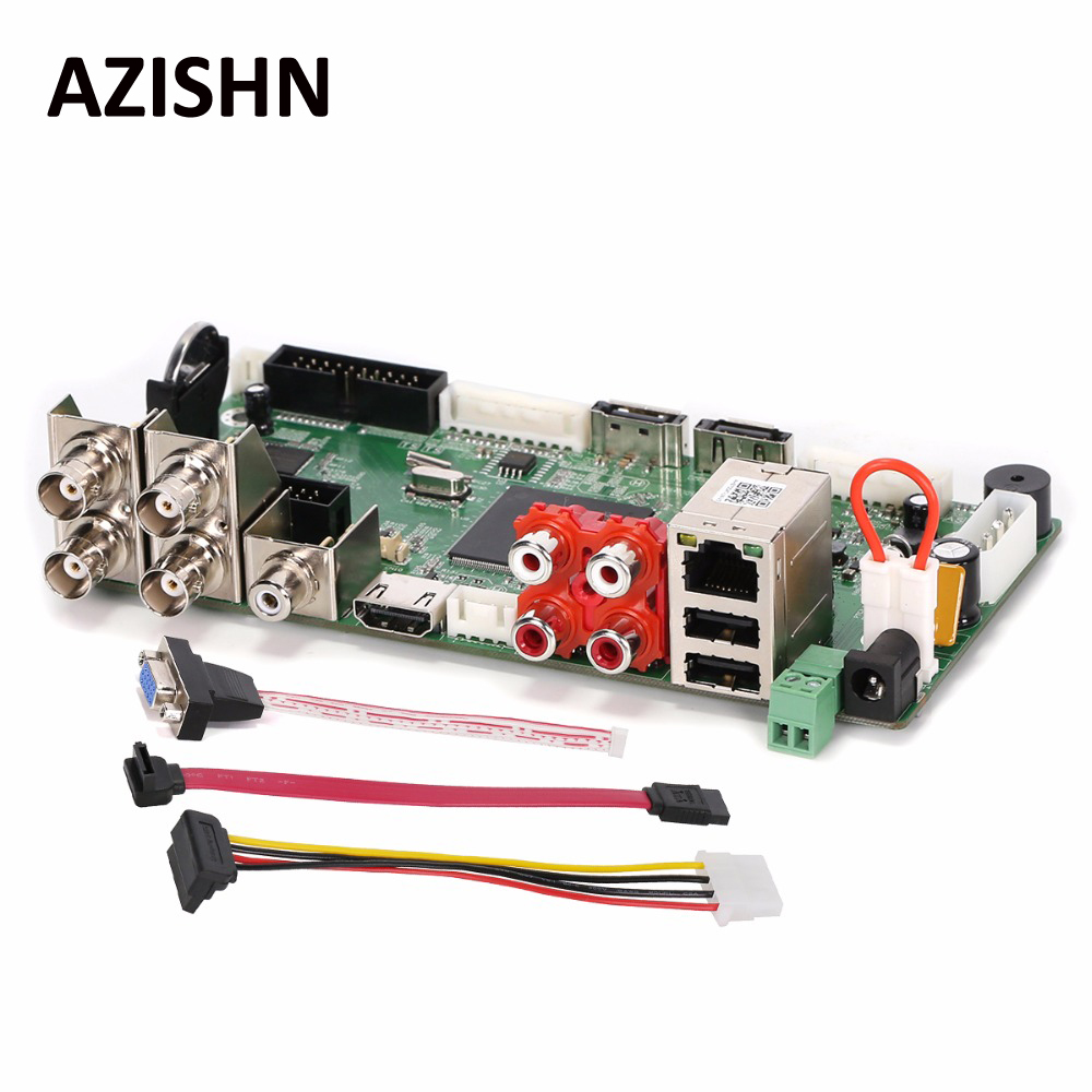 Azishn CCTV H.264 AHD DVR 4CH1080N Гибридный AHD/CVI/TVI/CVBS 960 H D1 CIF 8CH 1080 P NVR обнаружение движения, HDMI 5 в 1 основная плата