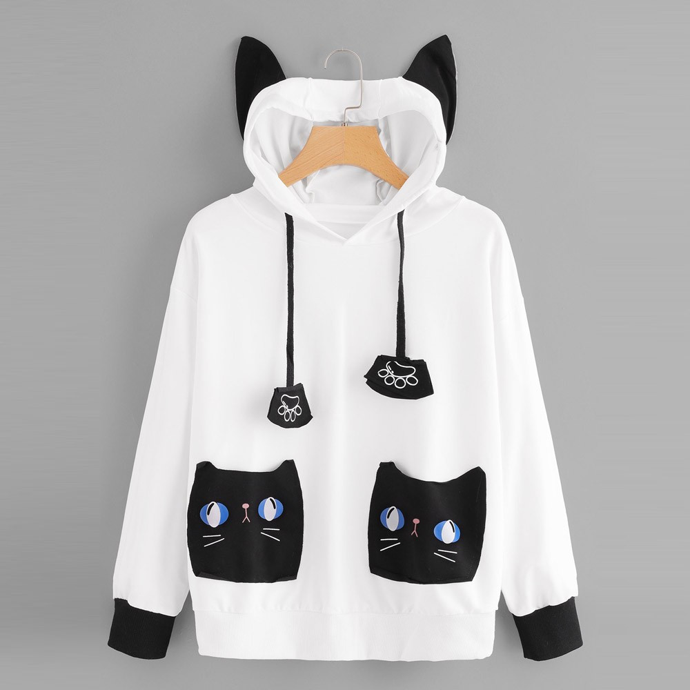 Womens Cute Cat Sweartshirt Women's Cat Print Pocket Decoration Hooded Sweatshirt Pullover Long Sleeve Tops Free Shipping Y505