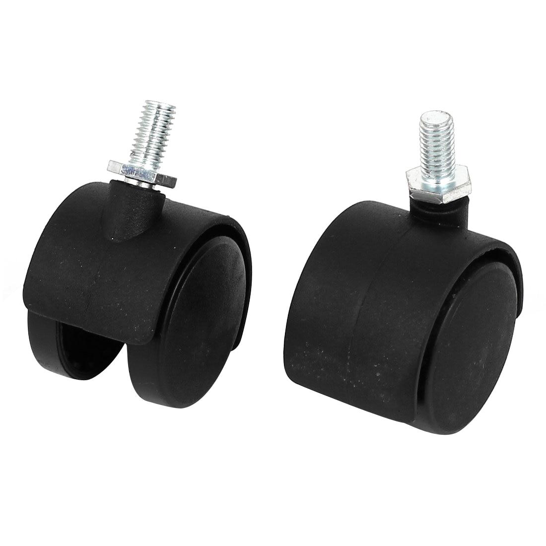 цена на 8mm Threaded Stem 1.5 Inch Dia Wheel Chair Swivel Caster 2 Pcs Black