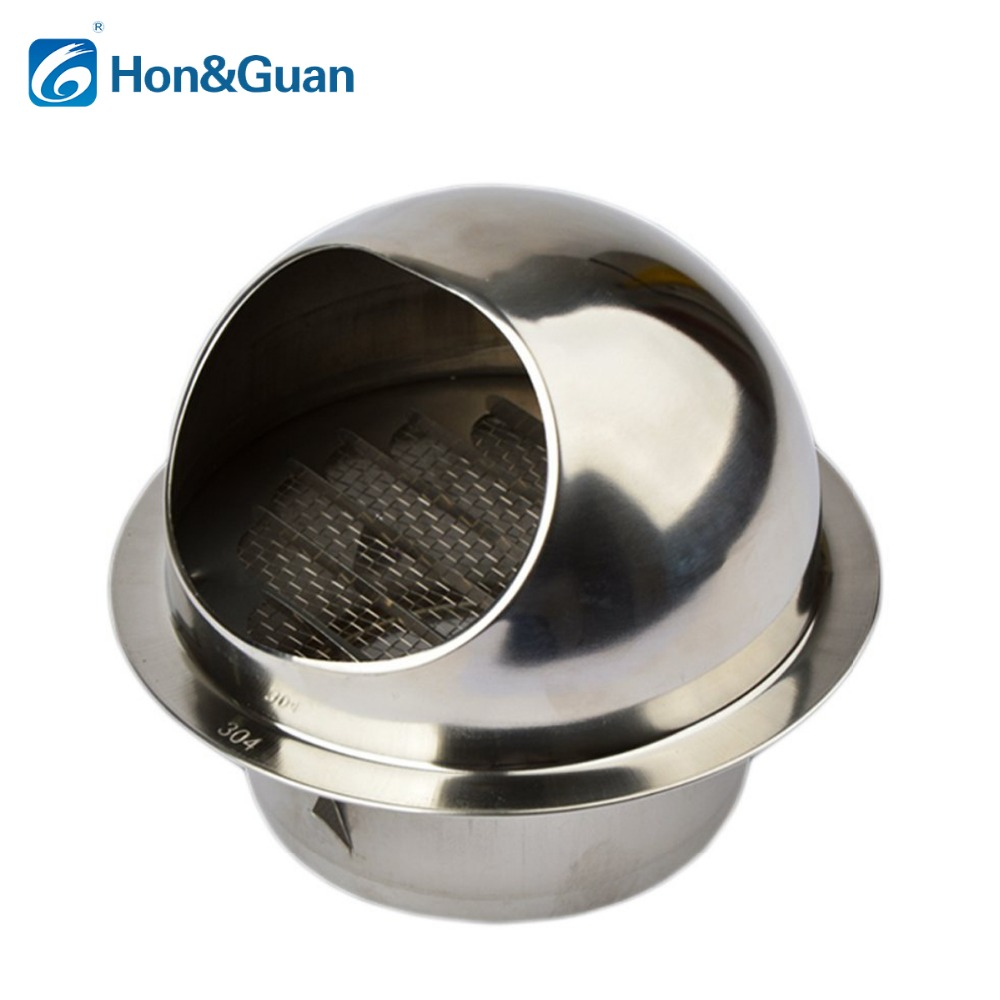 Hon&Guan 4 Inch / 6 Inch 304 Stainless Steel Round Air Grille Ventilation Cover Wall Vent Outlet (100mm or 150mm)