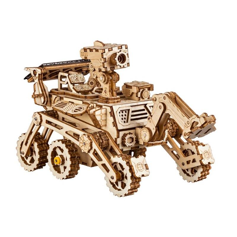 Robotime juguete de madera de energía Solar 3D móvil espacio caza modelo de construcción creativo de peluche de juguete de regalo para niño adulto LS402