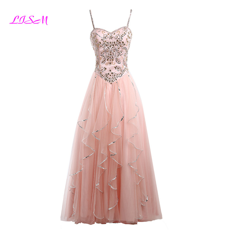 Pink Crystals   Prom     Dresses   Spaghetti Straps Puffly Princess Formal Gowns A-Line Sleeveless Long Party   Dress   for Gratuating Date
