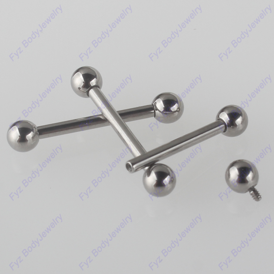 Jewelry Nipple-Rings Barbell Threaded Fake-Plug Piercing Titanium-Internally G23 16G